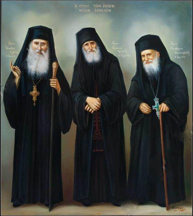 Elder Iakovos of Evia, St. Paisios of the Holy Mountain and Elder Porphyrios