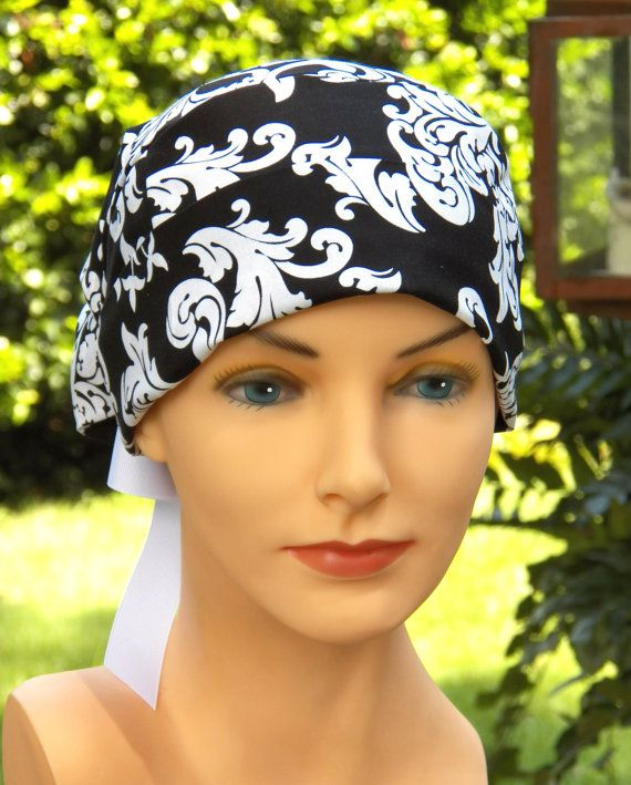 Surgical Scrub Cap or Cancer Hat -Perfect Fit Tie Back with RIBBON TIES-Black and White Damask.