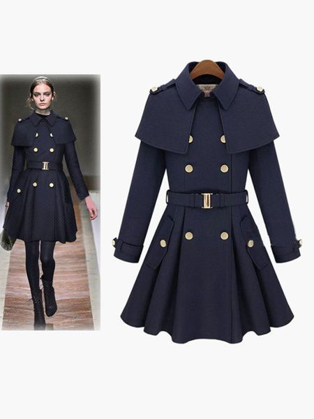 Cappotto donna collo mantella stile militare, Turndown Collar Long Sleeves coat