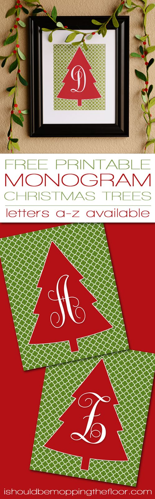Free Monogram Christmas Tree Printable | Letters A-Z available | Instant Downloads