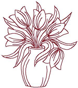 Redwork Tulips in Vase Embroidery Design