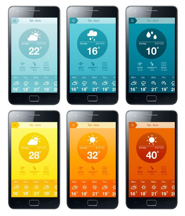 Weather Application by hila peleg, via Behance