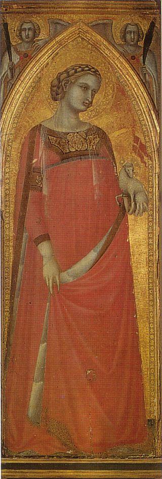 Pietro Lorenzetti - Sant' Agnese  (da Pala del Carmine) - 1328-1329 - Siena, Pinacoteca Nazionale
