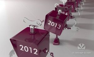 Mechanical toy cubes with hands and feet, waiting for their turn with the passing years. Happy New Year 2013!