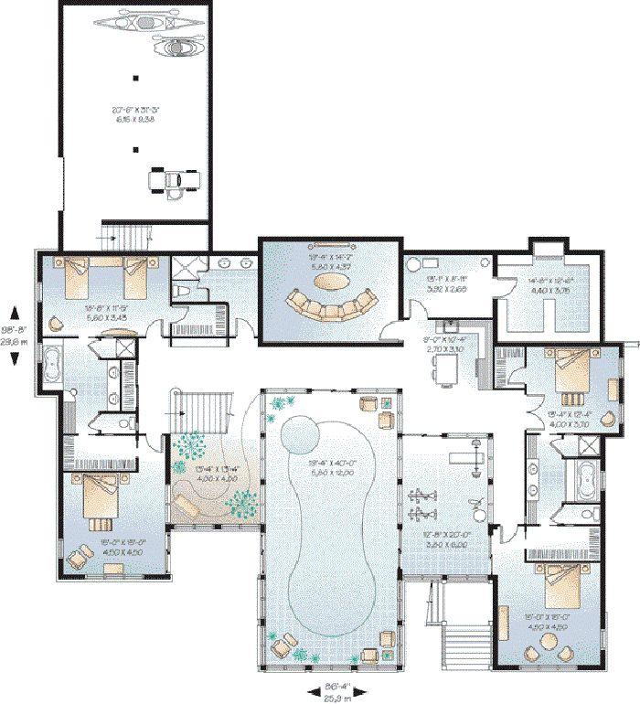 Die besten 17 Ideen zu House Plans With Pool auf Pinterest | Haus ...