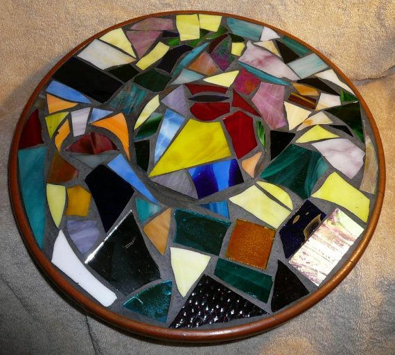 Multi Color Mosaic Stained Glass Lazy Susan or Centerpiece table display Suzan