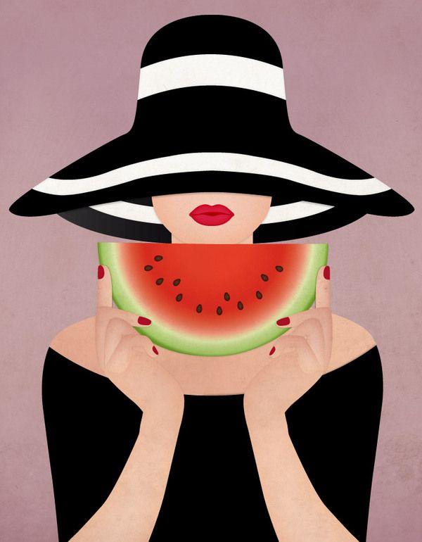 Oh, summer! by Sanja Veljanoska, via Behance watermelon girl summer girl illustration
