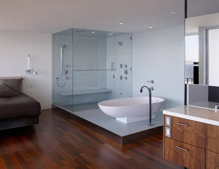 Modern Bathroom Design Inspirations 2013   White Modern Open Plan Bathroom  Design with White Bathtub and. 17 Best ideas about Open Plan Bathroom Design on Pinterest   Green