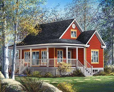 This cute and compact country cottage house plan has a charming wraparound front porch which expands the livability of this design.