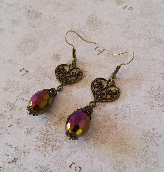 Brons paarse oorbellen druppel oorbellen door HoneyBeads1Official