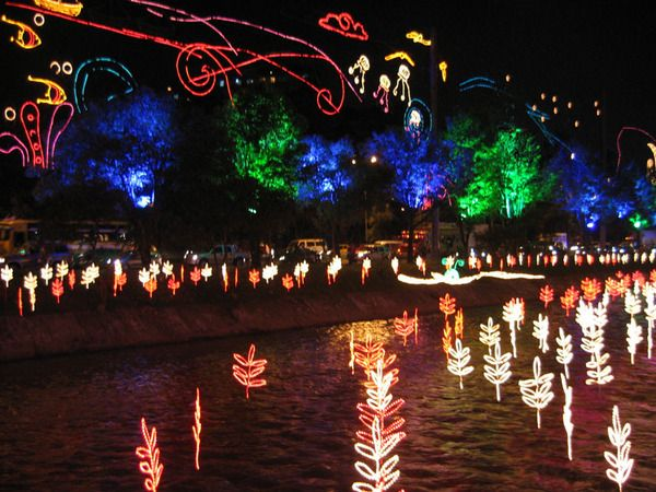 Light installation on the river in Medellin, Colombia