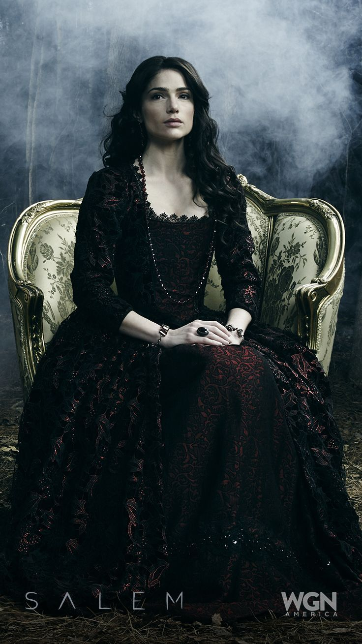 Salem tv-series. rococo-style black-and- red lace dress