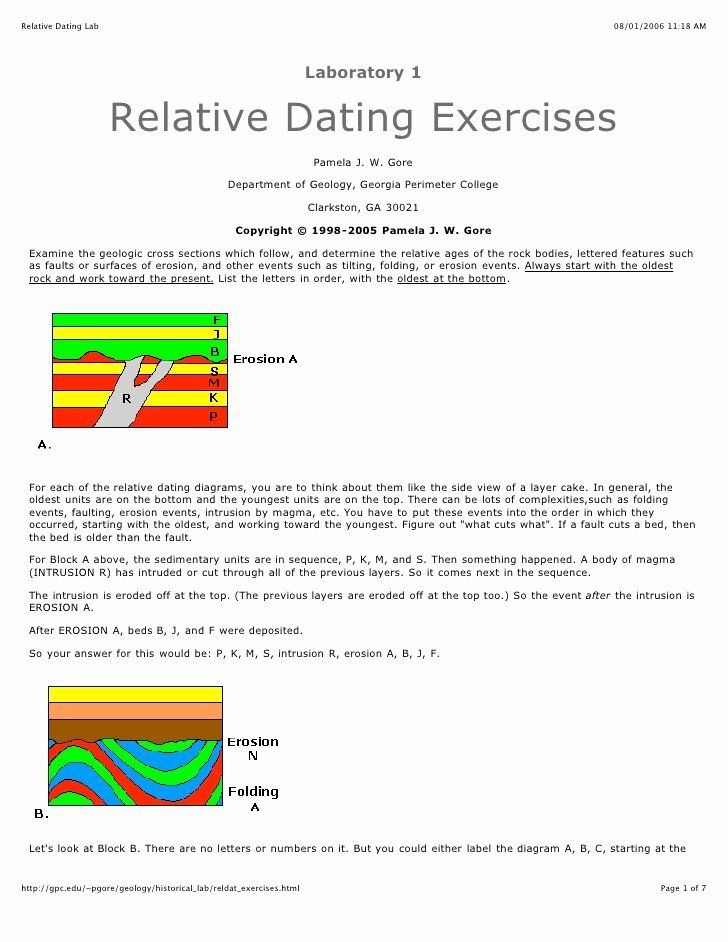 Relative Dating Worksheet Answer Key Beautiful Relative ...