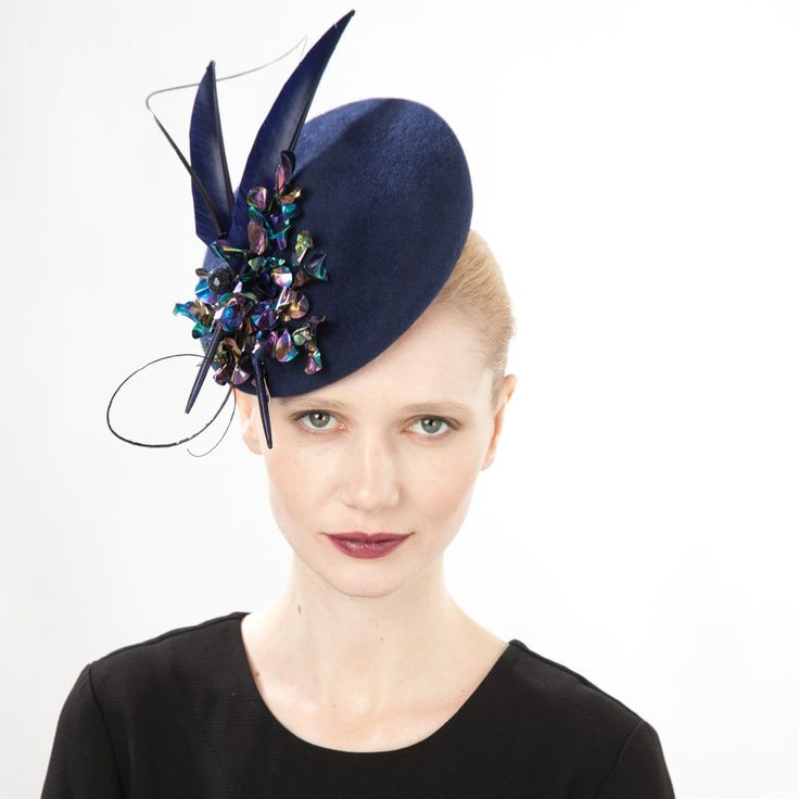Jasper (front view) | Jane Taylor Millinery | Feather and sequin cocktail hat | Elegant velour felt cocktail hat with intricate sequin, angular feather and quill detail. Perfect for a Winter wedding or formal event