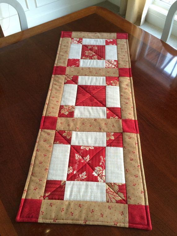 Red Beige & White Quilted Table Runner Valentines by seaquilt