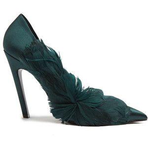 Balenciaga Feather-embellished satin pumps