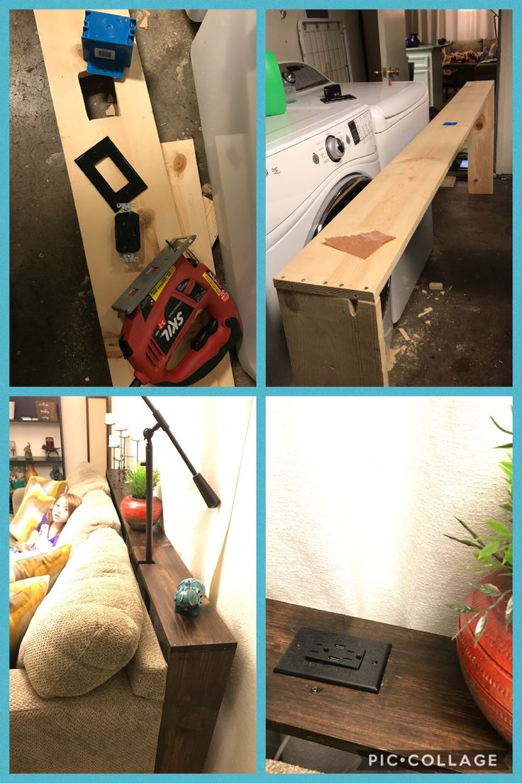Diy Sofa Table With Usb Outlet Super Easy Supplies Needed Wood Nails Usb Outlet And Cover Blue Box Thi Couch Table Diy Diy Sofa Table Table Behind Couch
