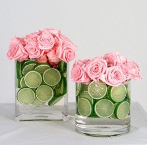 Rose & Lime Centerpiece.  That is so pretty.  I might try yellow roses though.