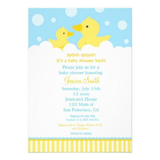 Beautiful Rubber Ducky Duck Baby Shower Invitation For Girl