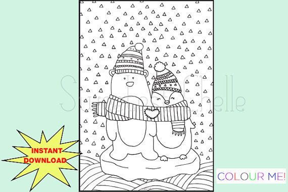 Cute Printable A5 COLORING Page Penguin and by SweetestChelle