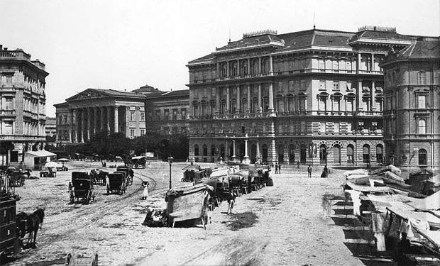 view of the National Museum and a now demolished bank building from Calvin square
