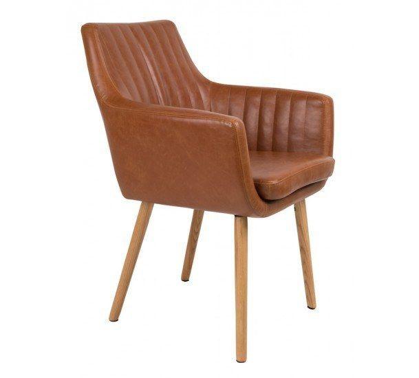 homii Spisebordsstol - Brun PU læder sæde - Brun spisebordsstol