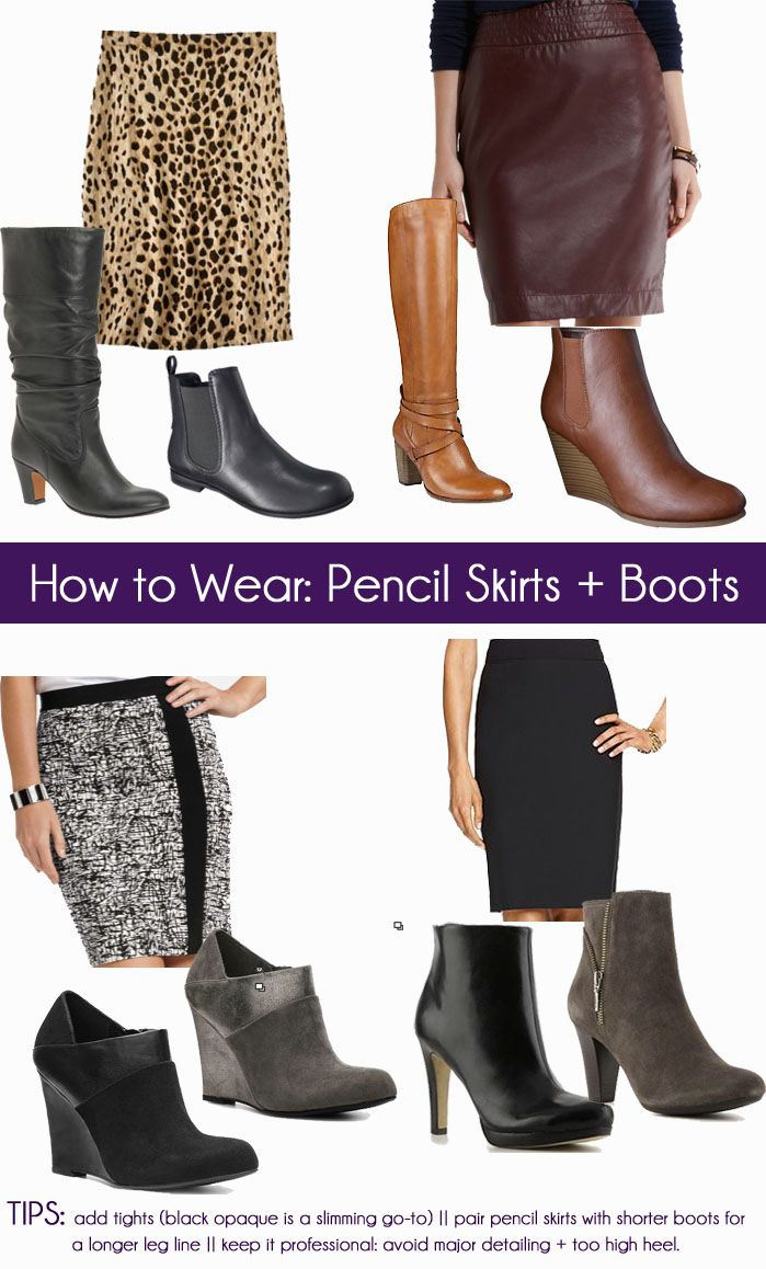 Facebook Twitter Pinterest Email Love This Flipboard While I'm still sizzling in Florida there are plenty of climates quickly cooling down as FB reader, Julie, mentioned the other day. Instead of diverting straight to your pants, consider pairing skirts with boots/booties. How to style them, Julie inquired, and here's the answer. Check out these four ways to pair pencil skirts with boots, primarily for the office. Opt for chic and classic. I recall a former colleague wearing cute Coach b...