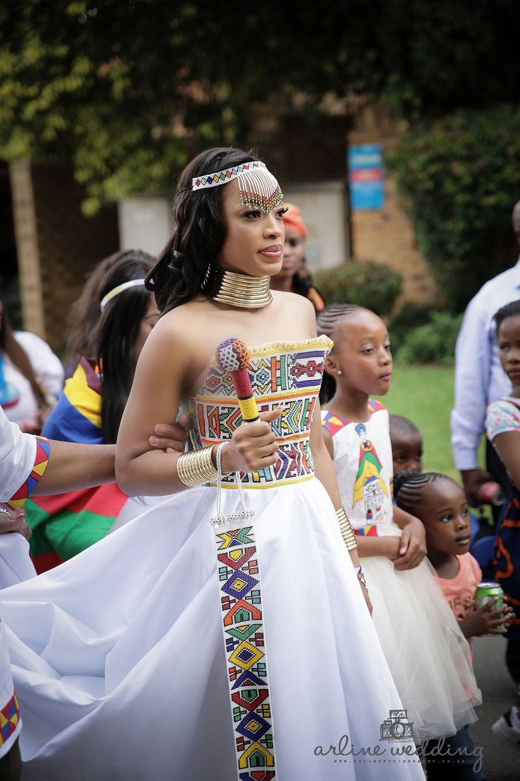 Zulu traditional wear inspired white wedding gown