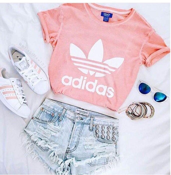 shirt t-shirt adidas pink coral shorts jeans denim denim shorts shoes white  blue bracelets