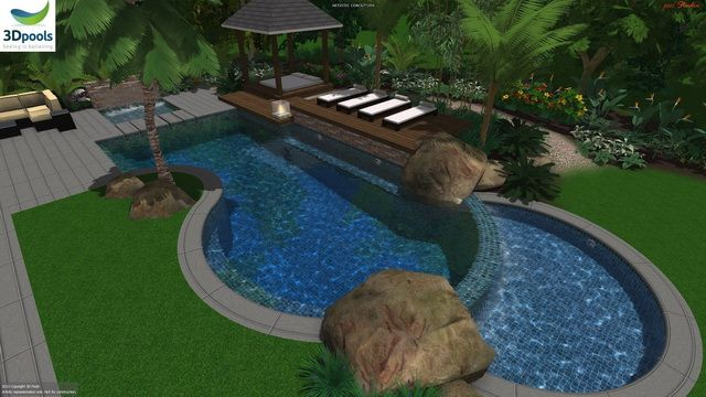 Tropical style family pool with water feature wall, shallow kids area, floating steppers to daybed & wet edge spillover to lower kids pool. Buy this pool design and many more stylish designs at www.3d-pools.com.au