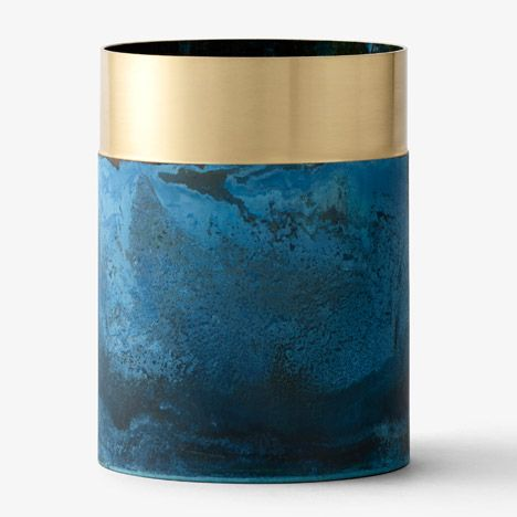True Colours Vase by Lex Pott and &tradition artificially oxidised and cleaned back to create polar opposite surface finish of same material