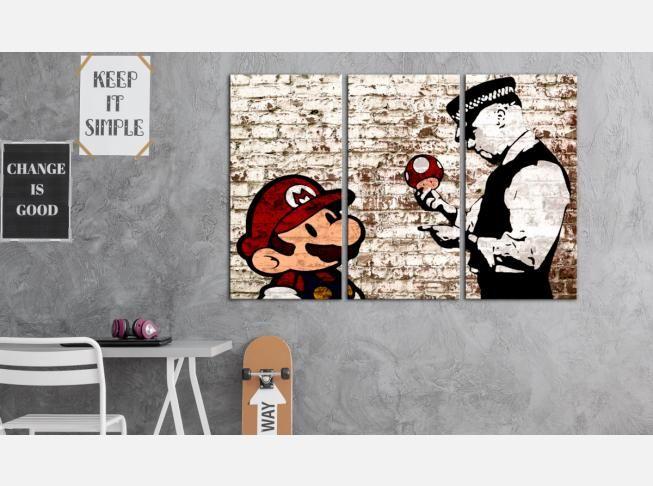 Quel artiste vous fait penser au street art ? Pour nous c'est bien sûr Banksy  ;) #tableau  #tableaux #triptyque #Banksy #Mario #streetart #mural #graffiti #décomurale #chmabreado #artgeist