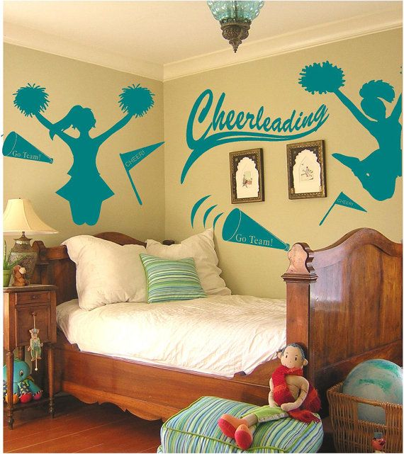 Cheerleader Bedroom - cheer-themed wall art/decals are perfect for a cheerleader -- or for a little girl who wants to grow up to become one. -LRE