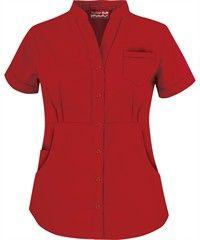 Butter-Soft Scrubs by UA Women's Solid Mandarin Collar Snap Front Top