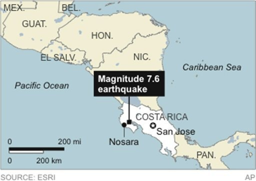 Powerful earthquake reported in Costa Rica    A powerful, magnitude-7.6 earthquake shook Costa Rica and a wide swath of Central America on Wednesday, collapsing some houses, blocking highways and causing panic and at least one death from a heart attack.Heart Attack, Earthquake Shook, Earthquake Reports, Costa Rica, Magnitude 7 6 Earthquake, Shook Costa, Power Earthquake, Block Highway, Central America