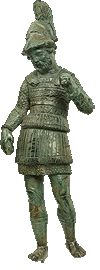 Bronze figurine of a general, from Dodona.  300 B.C. Although fortune-telling by means of liver, after a sacrifice, was a usual practice in antiquity, in order to foresee the outcome of a coming confrontation, the relevant representations are rare. The statuette imitates in miniature scale monumental statues of generals of the Epirote League. The prophetic liver in the right hand of the man led to the identification of the figure with the philosopher Kineus, an adviser to Pyrrhus, king of…