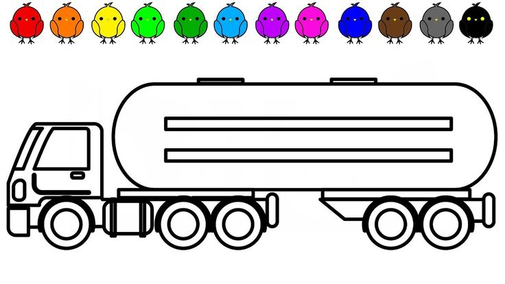 Car and truck coloring book video for kids, Oil truck coloring pages, Ki...