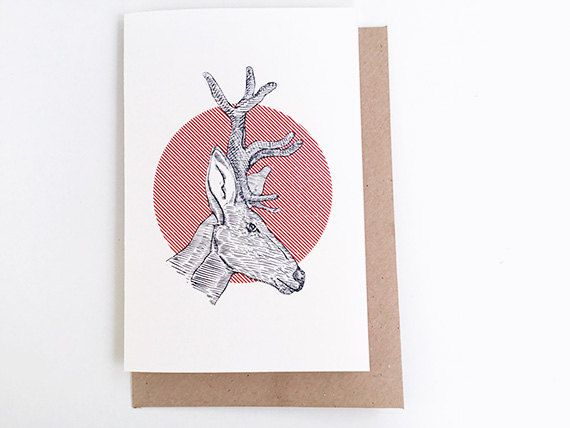 Thinking of You Card  Deer. Just Because Card Long Distance. Printmantis.etsy.com.