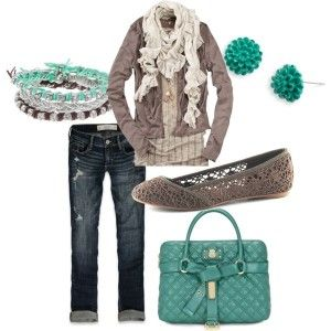 love everything except the bag Bracelet Earrings Jacket Shirt Scarf Flats Jeans