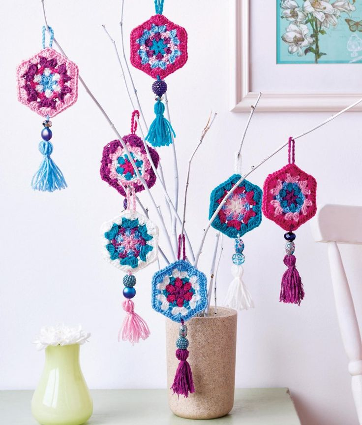 Pretty hanging crochet ornaments