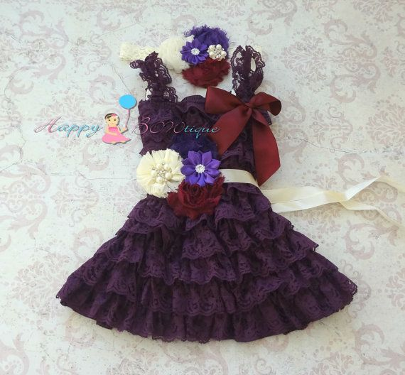 Ivory Dark Purple Plum lace dress set, Flower girls dress,Ivory  Dress,baby dress,Birthday outfit,girls dress,purple dress,baby girls dress