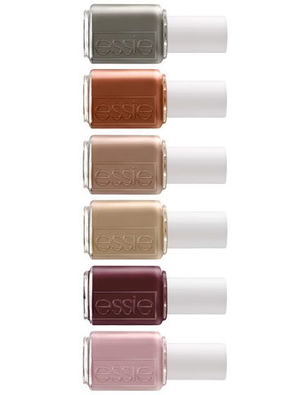 "Essie's bag collection, inspired by the chic and serviceable handbags of the 1940s, comes in fetching ladylike tones such as dark green and mulberry. Grab a ""Carry-On"" or a ""Power Clutch"" to complete your new look. 