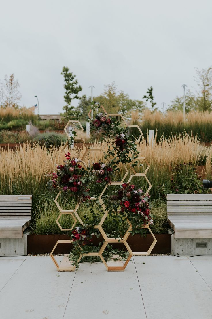 outdoor wedding ceremony sites in akron ohio%0A A stylish urban outdoor ceremony in downtown Akron with a handmade  honeycomb alter backdrop with burgundy