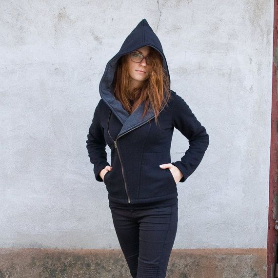 Women's Hoodie Warm Hoodie  Asymmetrical Front by clothesNavaho