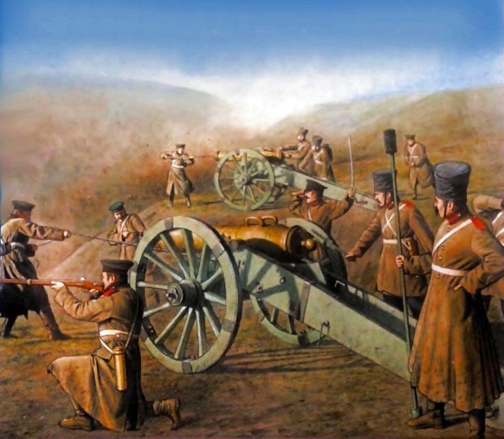 Russian artillery crew, Crimean War