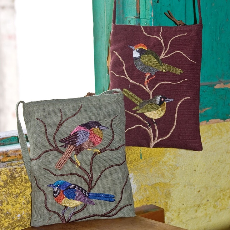 Handmade fair trade embroidered bird bag **Altiplano