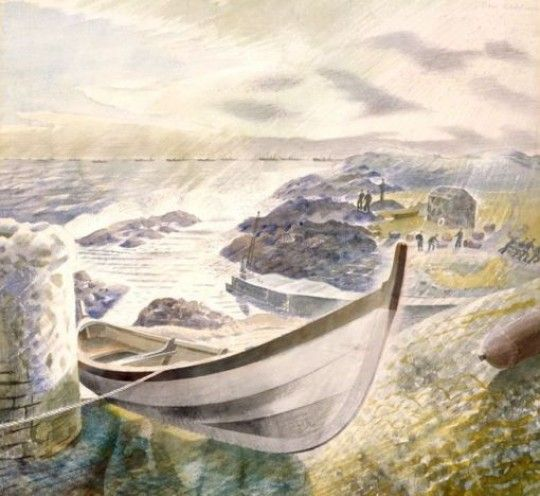 """""""Storm"""" by Eric Ravilious, 1941 (painted on the Isle of May, in Scotland, near the Firth of Forth)."""