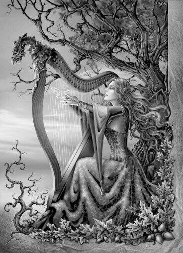 elf dragon harp music fantasy coloring colouring printable adult advanced detailed.