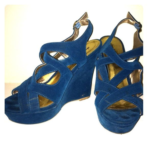 Teal Wedges Teal wedges only worn twice and in very good condition. I would say they're more teal-ish blue Shoes