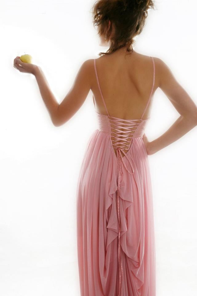 Designer: Yvette van den Berg for Yvi Berg; Photographer: Jacomien de Beer; Model: Lenie Pieterse; Couture; Evening dress; pink; pastel; Romantic Gown; flawy; whimsical; Interesting back; pretty; ; 2015; South African; Fashion Design